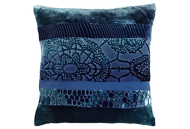 Patchwork Pillow in Shark Blue