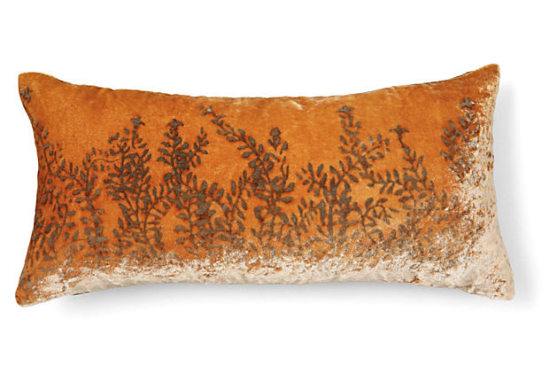 Ferns Orange Cushion