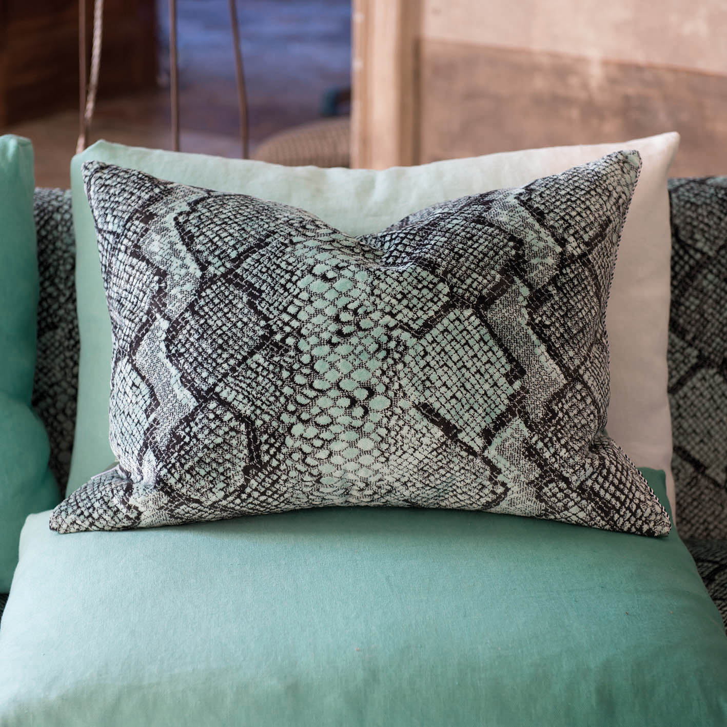 Oriago Spearmint cushion from Designers Guild